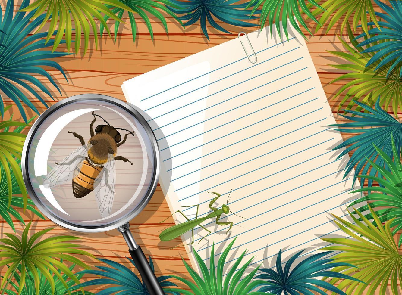 Vista superior del papel en blanco sobre la mesa con insectos vector