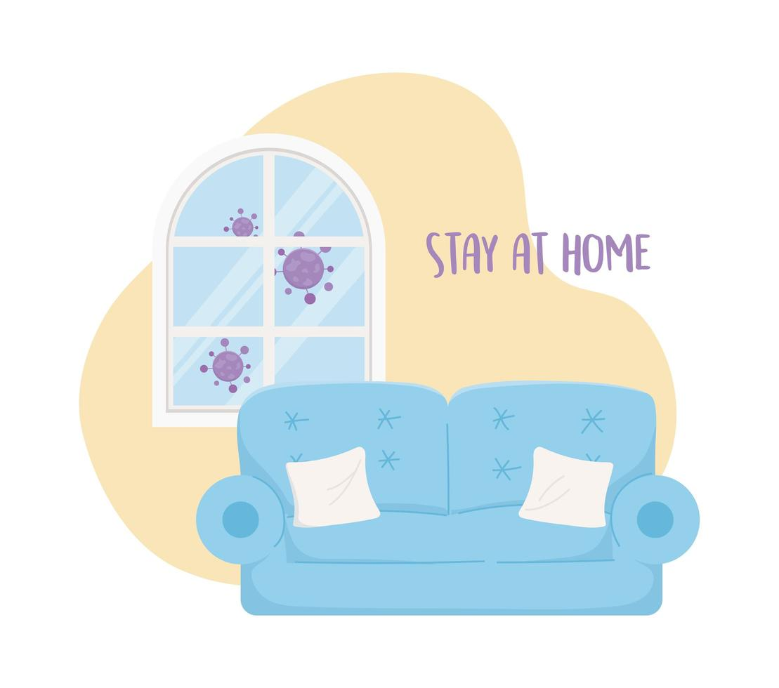 Coronavirus prevention with stay at home lettering vector