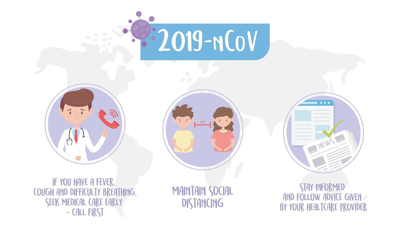 banner de consejos de salud para la prevención del coronavirus vector
