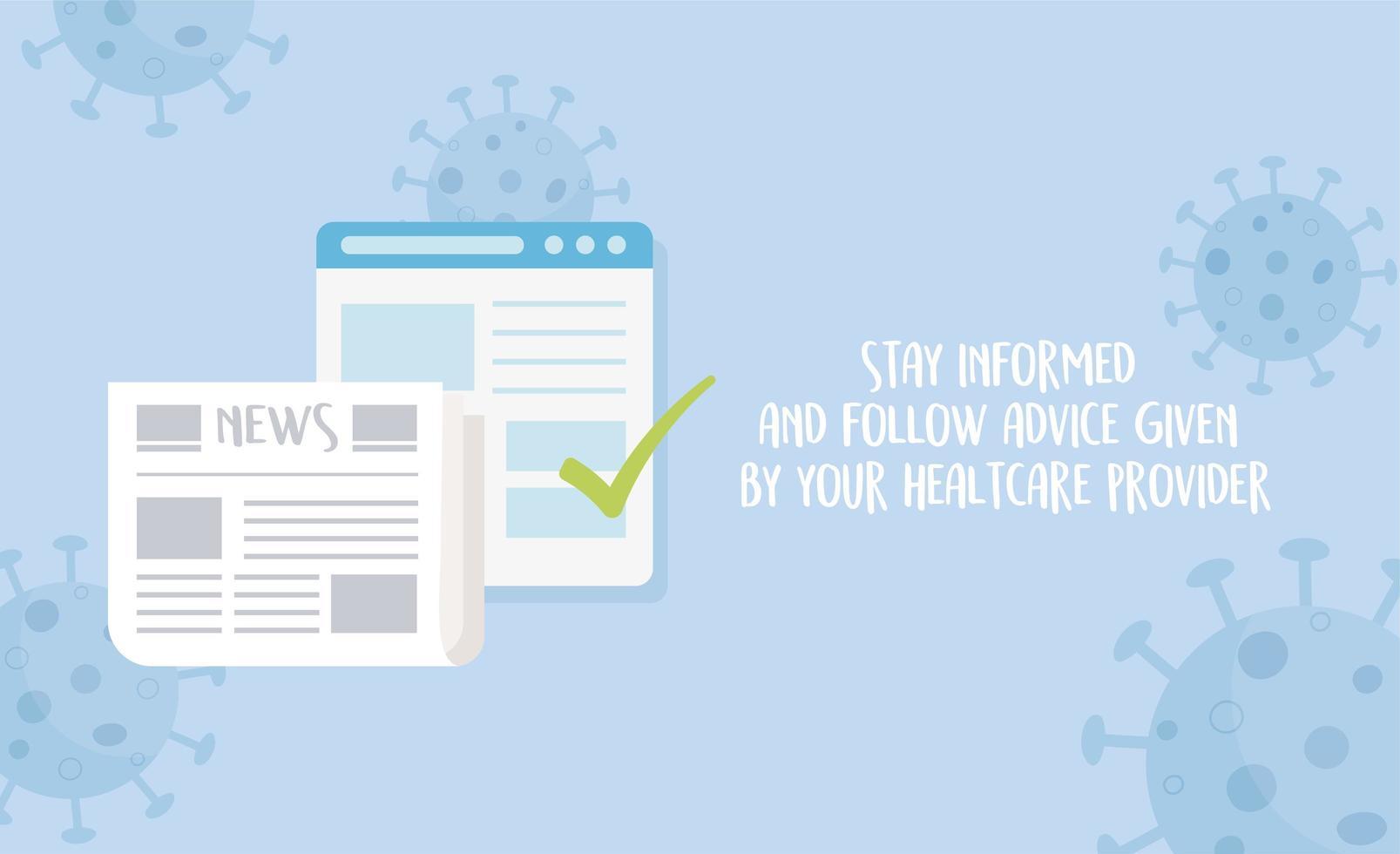 Prevención del coronavirus con mensaje de mantenerse informado vector