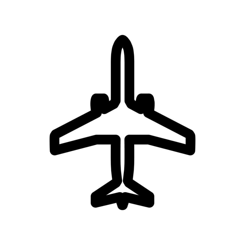 icono de contorno de avión vector