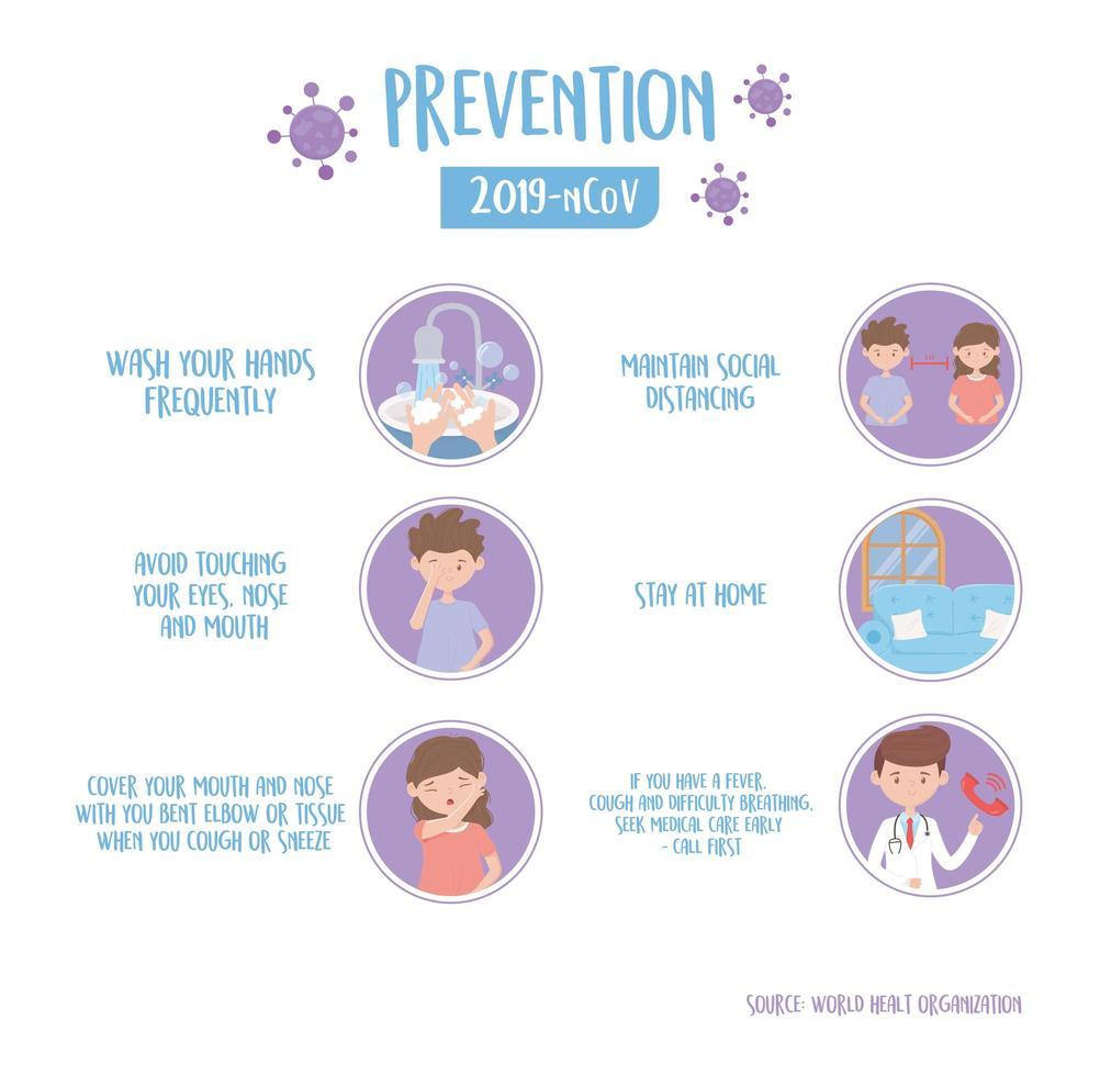 banner de información de prevención de coronavirus vector