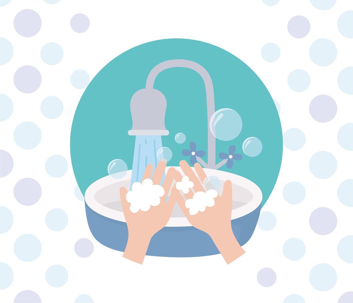 prevención del coronavirus con lavado de manos vector