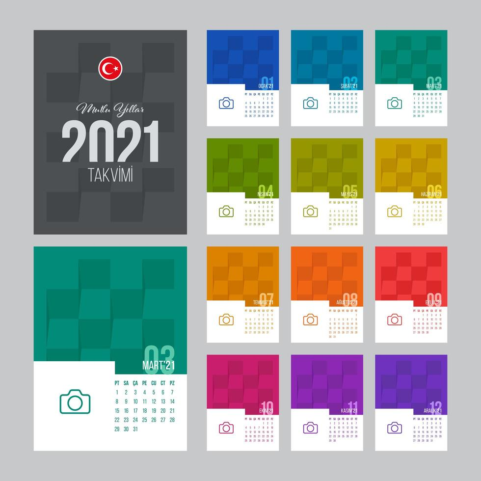 plantilla de calendario turco 2021 vector