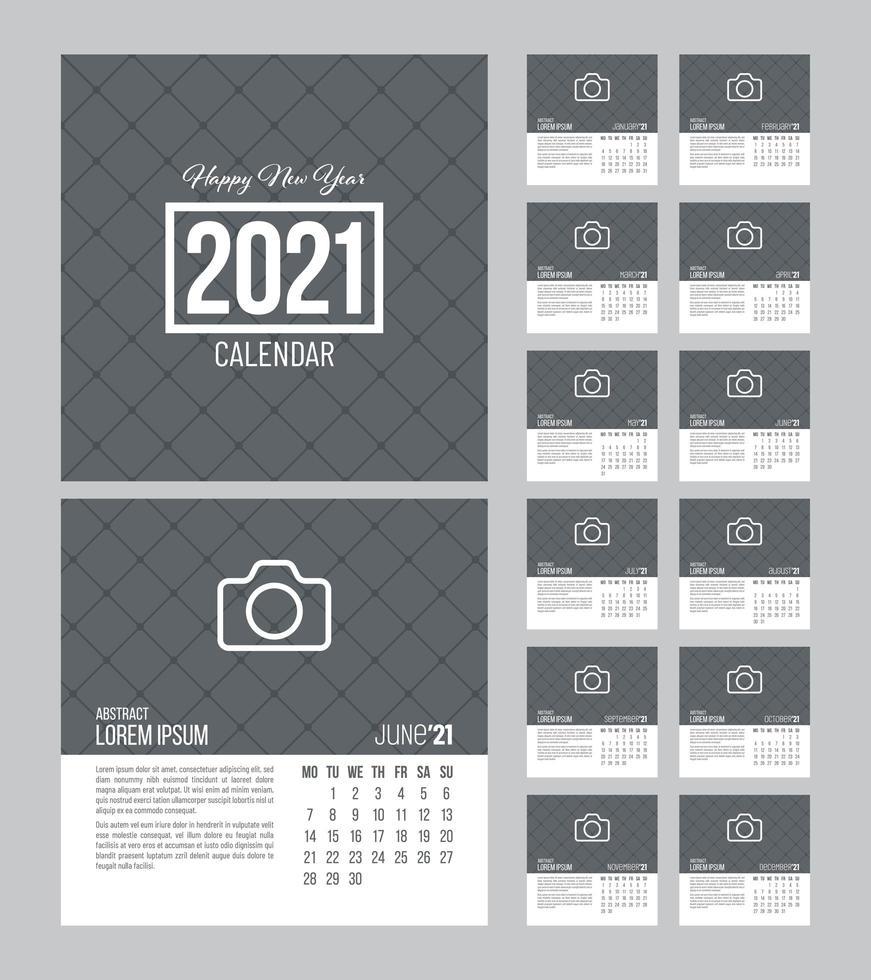 plantilla de calendario cuadrado 2021 vector