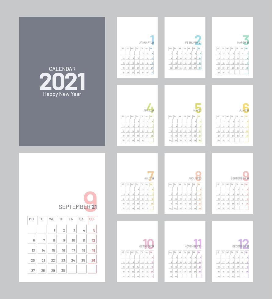 Plantilla de calendario 2021 vector