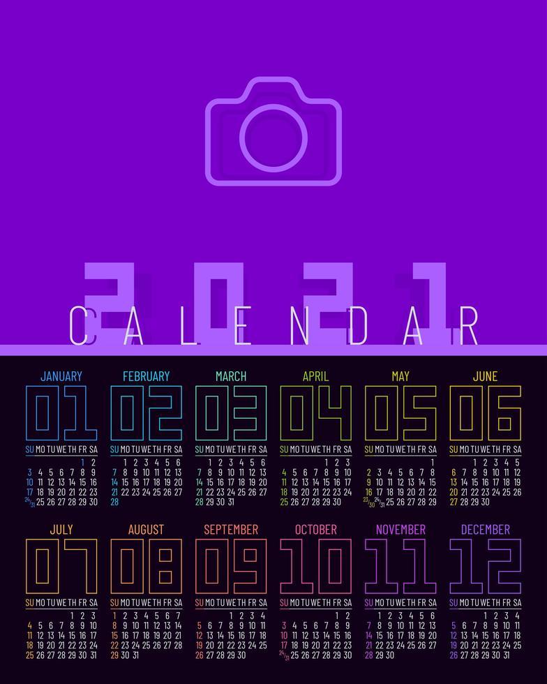 plantilla de calendario 2021 de una página vector