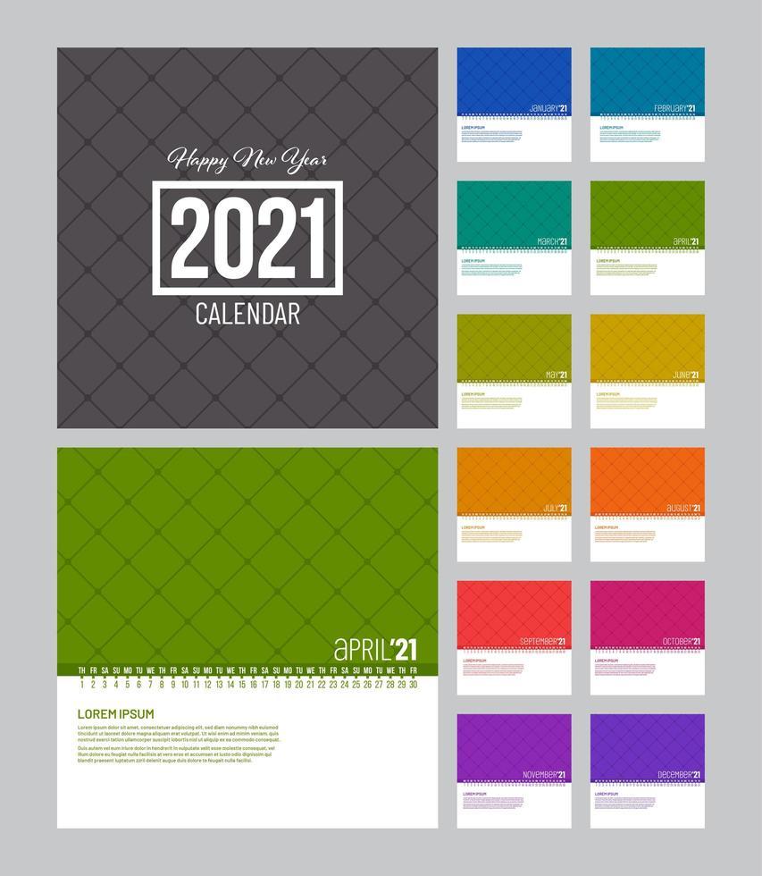modello di calendario 2021 lineare colorato   Scarica Immagini