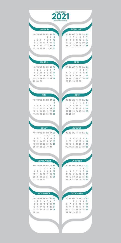 plantilla de calendario 2021 en forma de árbol vector