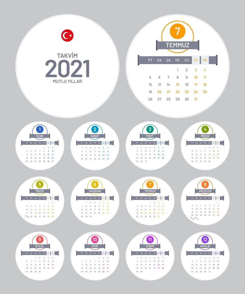 ronda turca calendario 2021 vector
