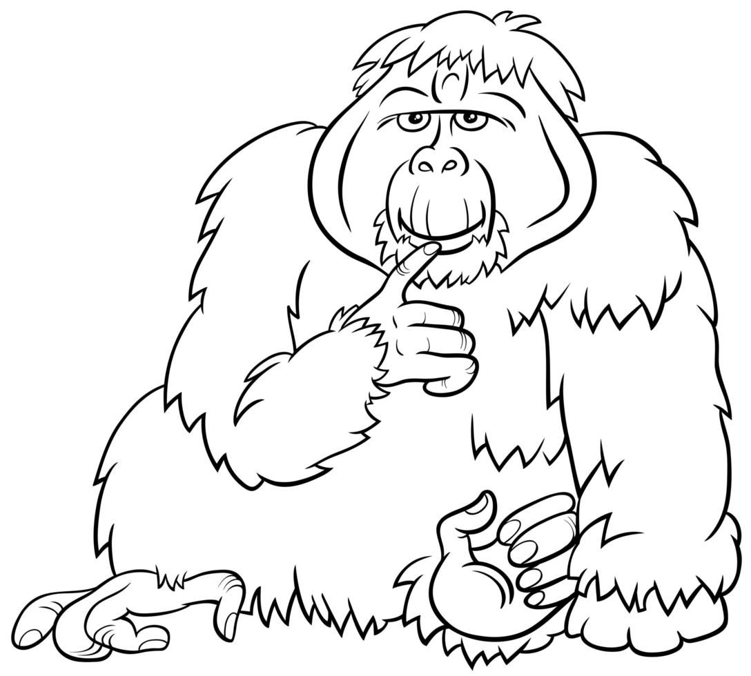 orangután, mono, animal salvaje, caricatura, libro colorear, página vector