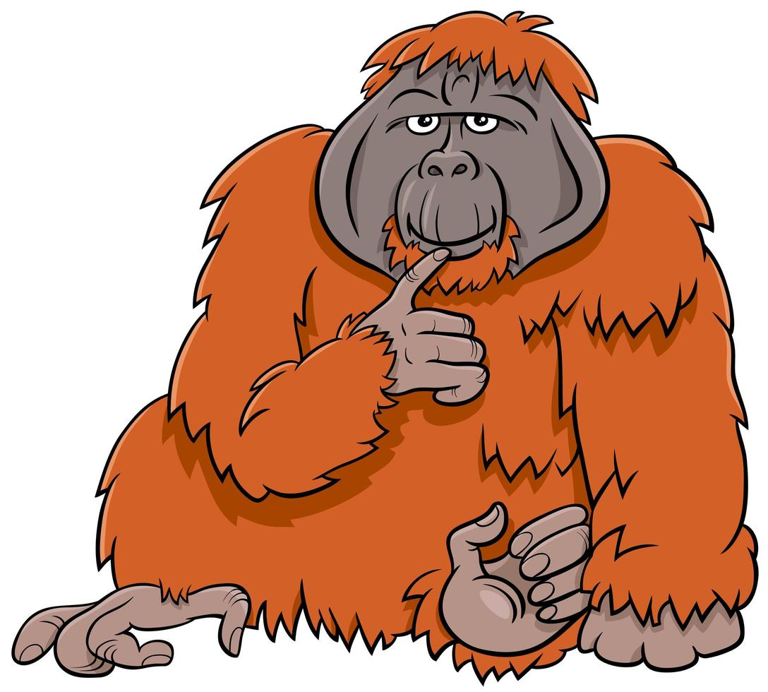 Ilustración de dibujos animados de animales salvajes de mono orangután vector