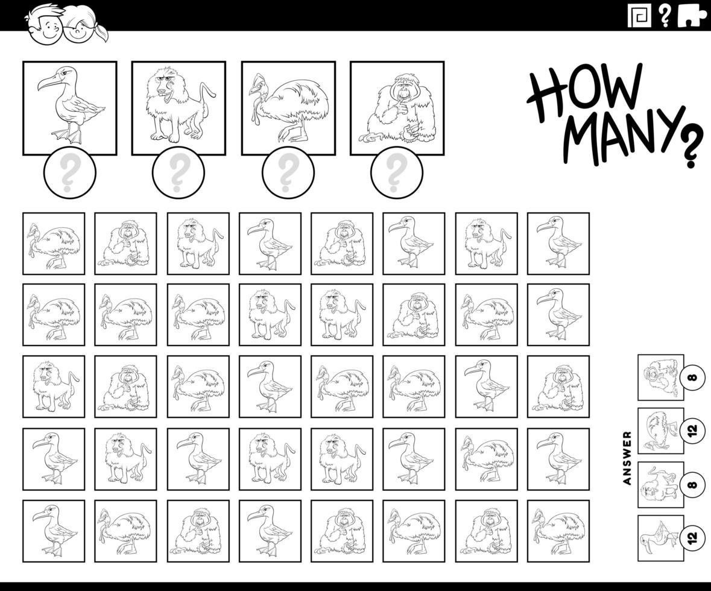 ¿Cuántos animales contando la página del libro para colorear del juego vector