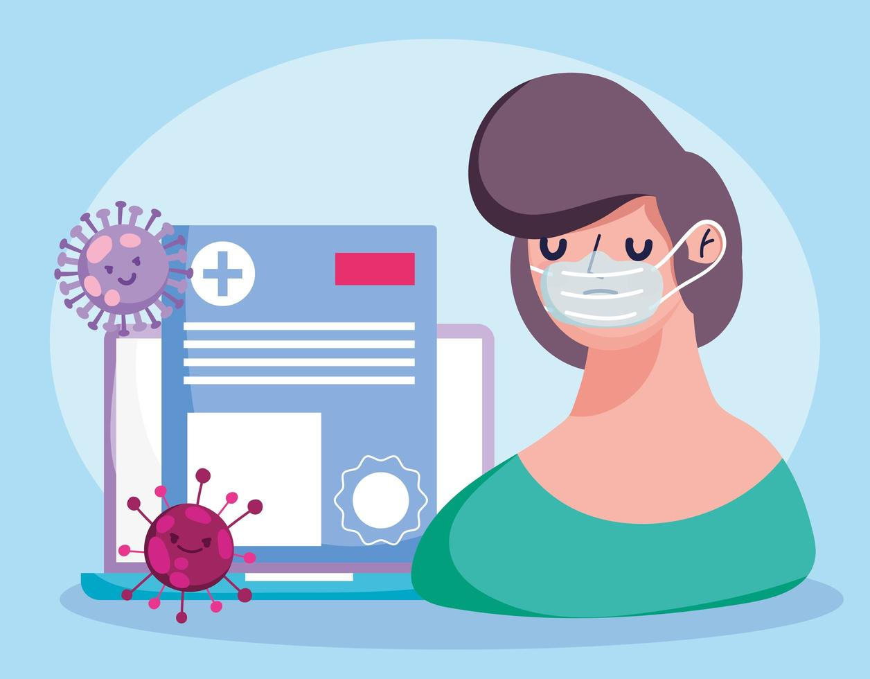 Online health care concept with sick patient vector