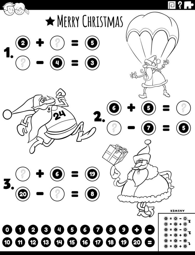 Tarea de matemáticas con la página del libro de color de santa vector