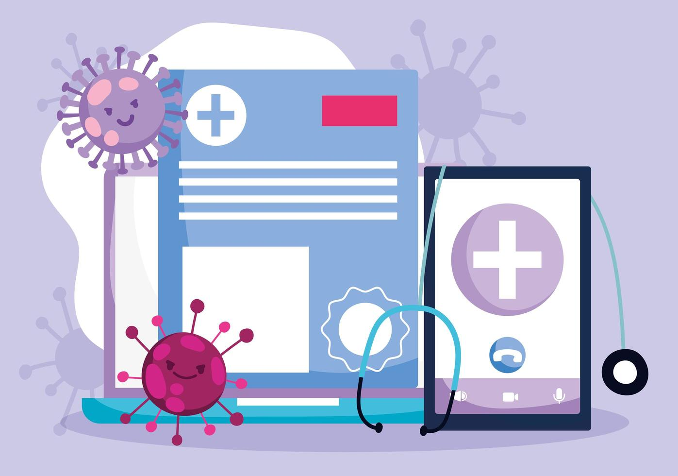 Online health care concept vector