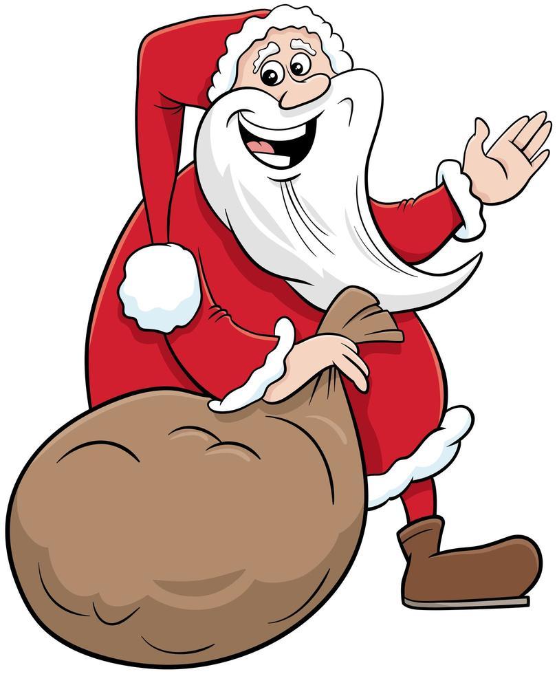 personaje navideño de santa claus con saco de regalos vector