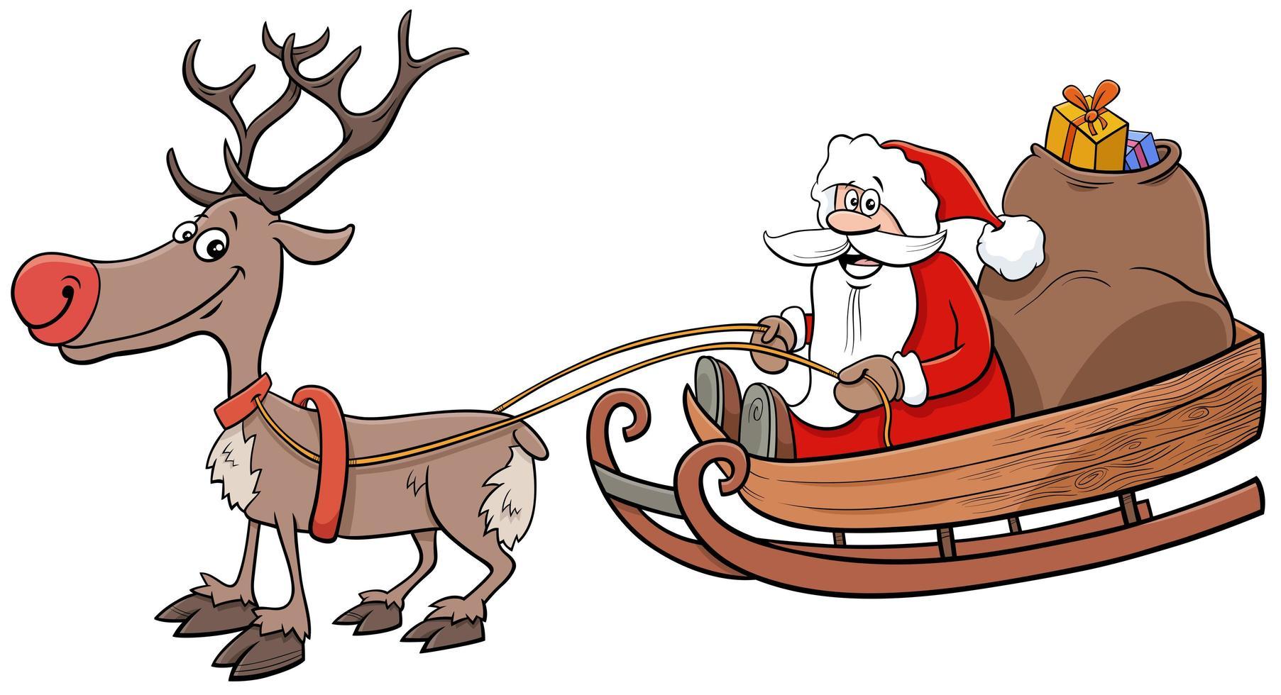 santa claus en trineo y regalos de navidad vector