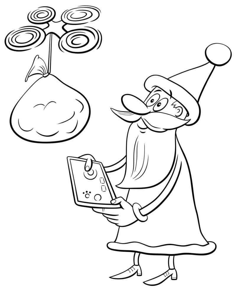 personaje navideño de santa claus con drone vector