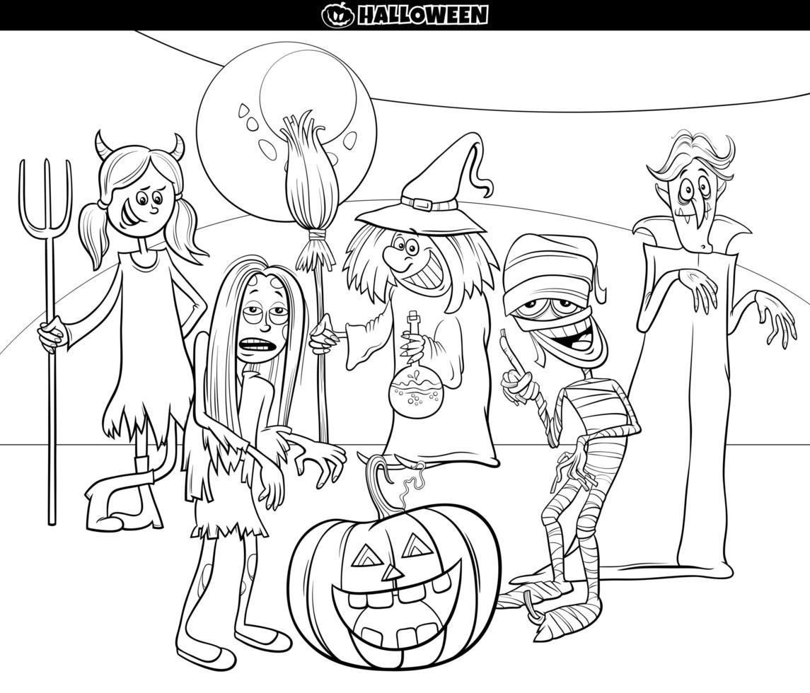 Halloween vacaciones dibujos animados divertidos personajes página de libro para colorear vector
