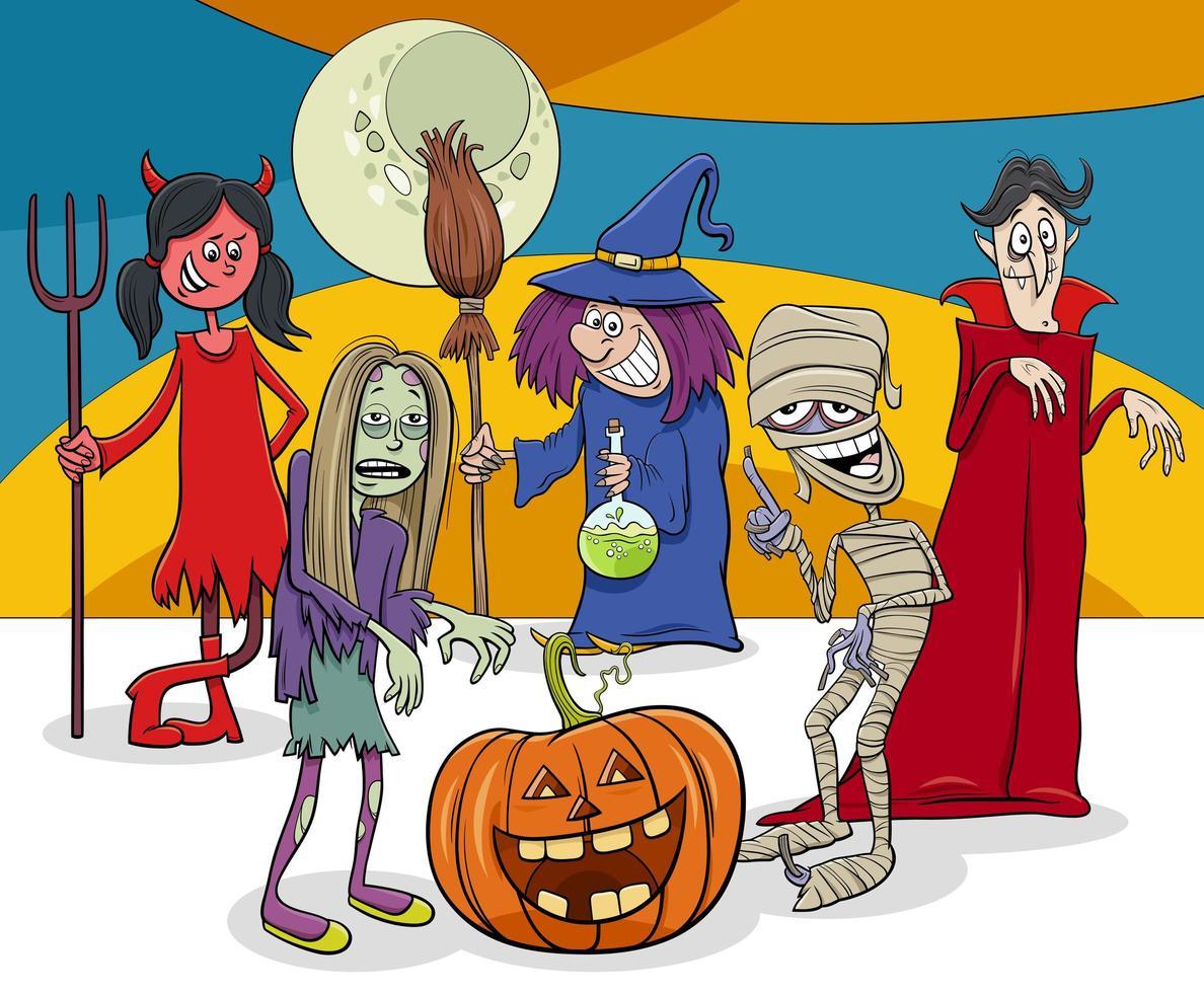 Halloween holiday cartoon funny characters group vector