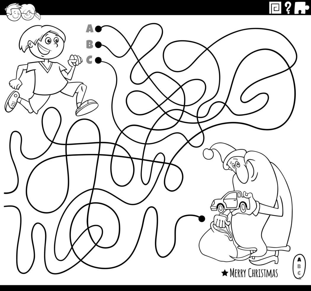 Line maze with Santa Claus and boy vector