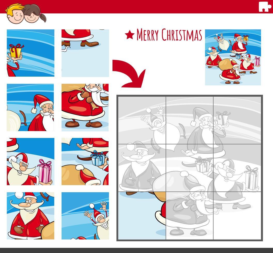 juego de rompecabezas con personajes navideños cómicos vector