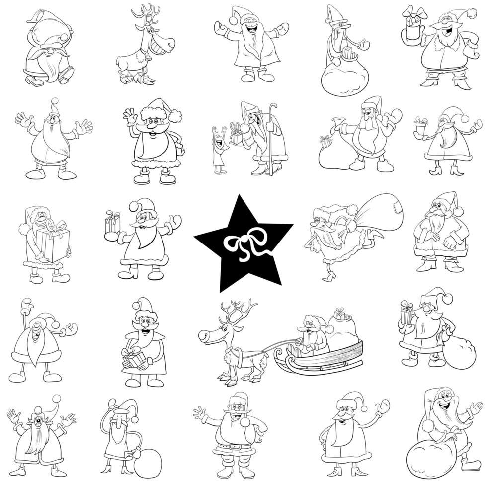 Black and white Christmas cartoon characters big set vector