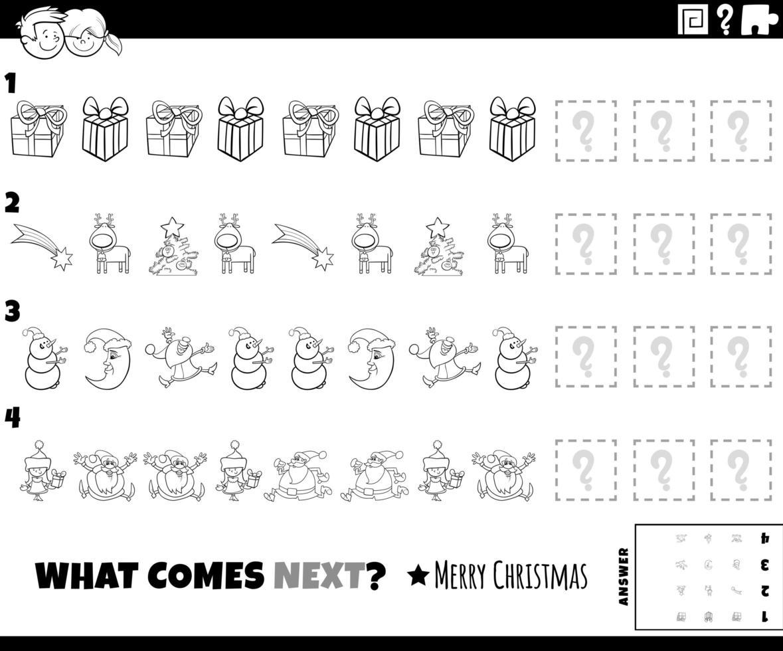 Tarea de patrón con personajes navideños página del libro para colorear vector