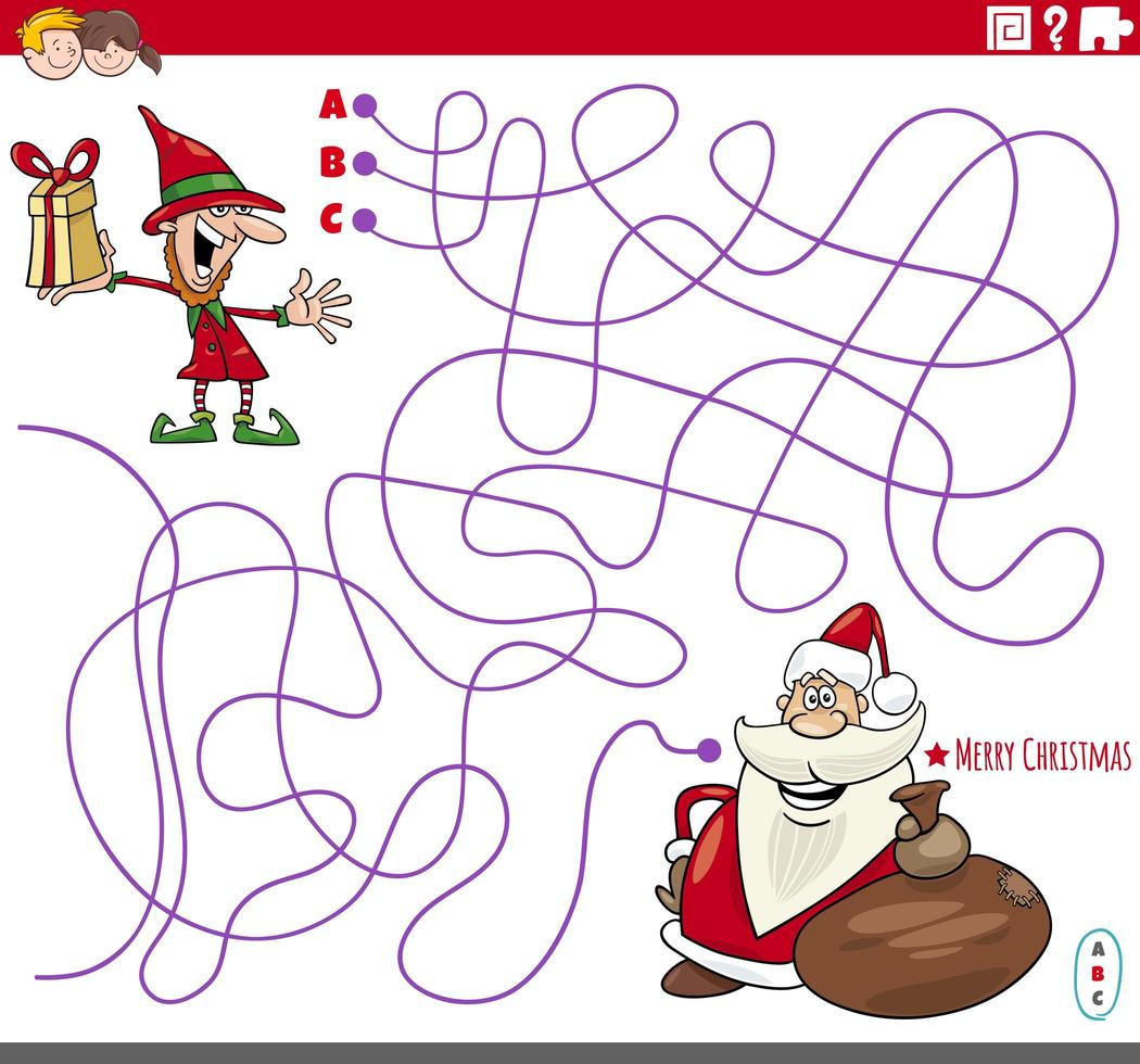 Educational maze game with cartoon Christmas characters vector