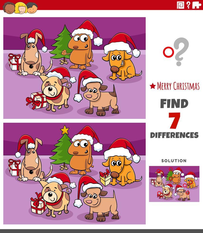 Diferencias tarea educativa para niños con perros. vector
