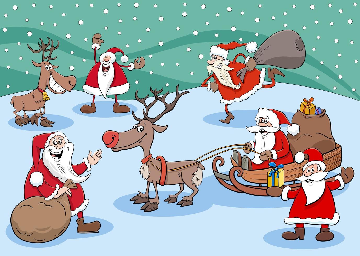 Feliz grupo de personajes de santa claus en Navidad vector