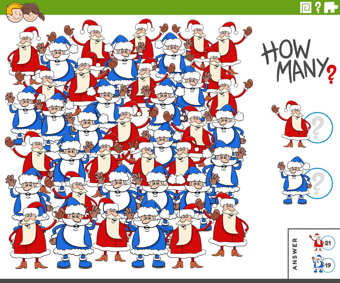Counting Santa Clauses characters educational task for kids vector