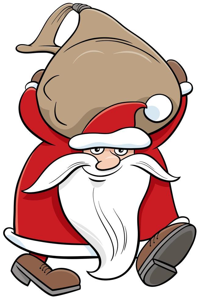 santa claus personaje de navidad con saco de regalos vector