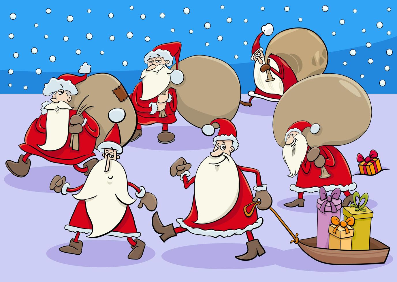 grupo de personajes de dibujos animados de santa claus en navidad vector