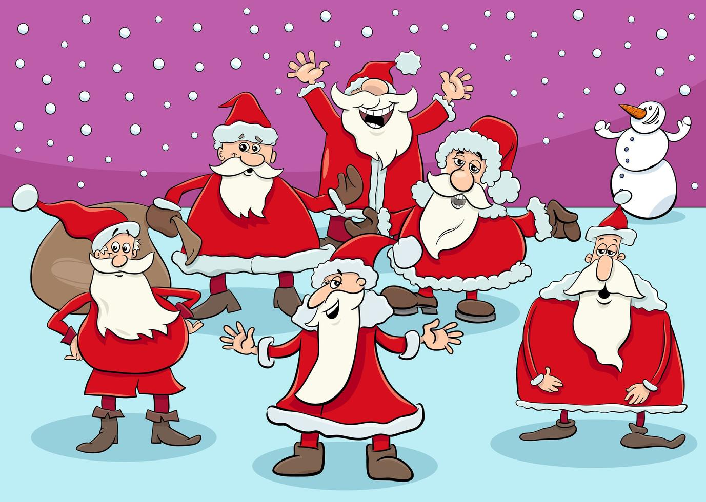 grupo de santa claus en navidad vector