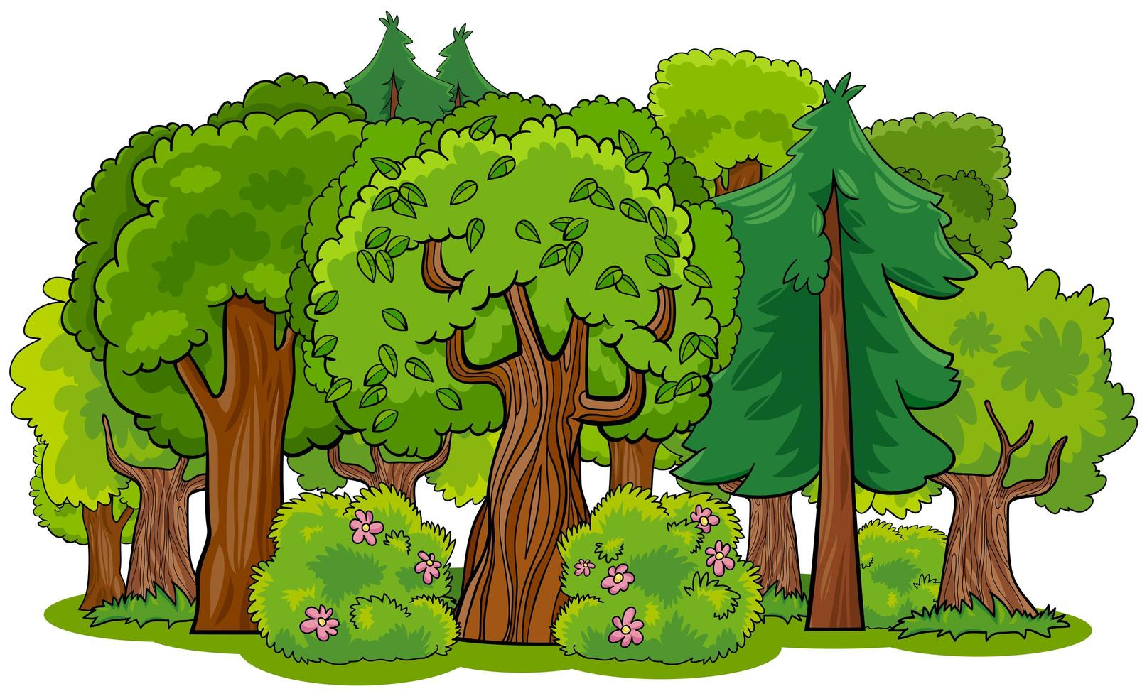 Mixed Forest With Trees Cartoon Download Free Vectors Clipart Graphics Vector Art Spring, summer season meadow landscape. mixed forest with trees cartoon