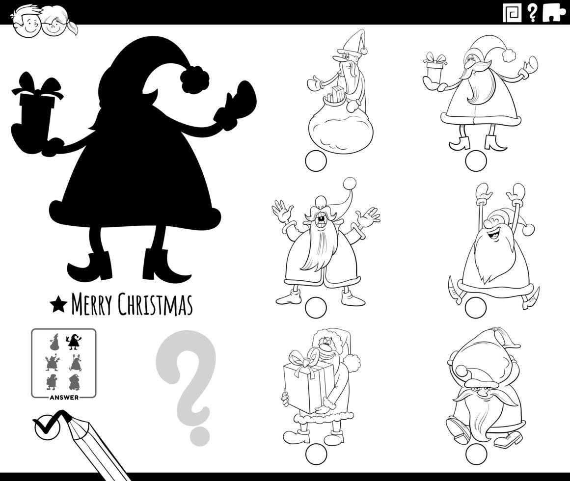 juego de sombras con cláusulas de santa de dibujos animados vector