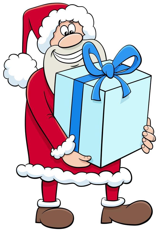 personaje de dibujos animados de navidad de santa claus con gran regalo vector