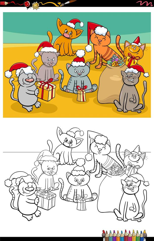 Cats group on Christmas time coloring book page vector