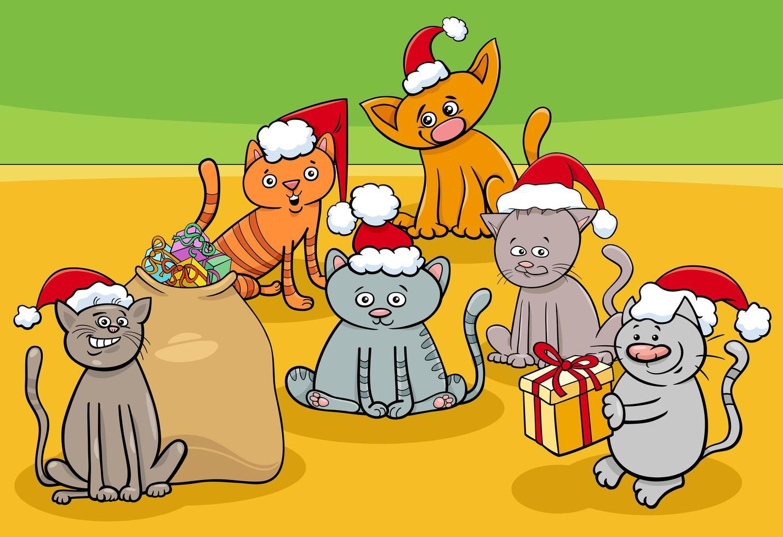 Grupo de personajes de dibujos animados de gatitos en Navidad vector