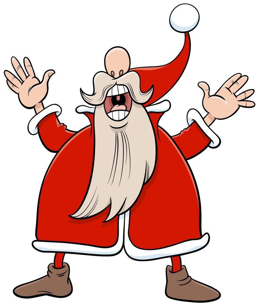 personaje de dibujos animados de navidad de santa claus cantando un villancico vector