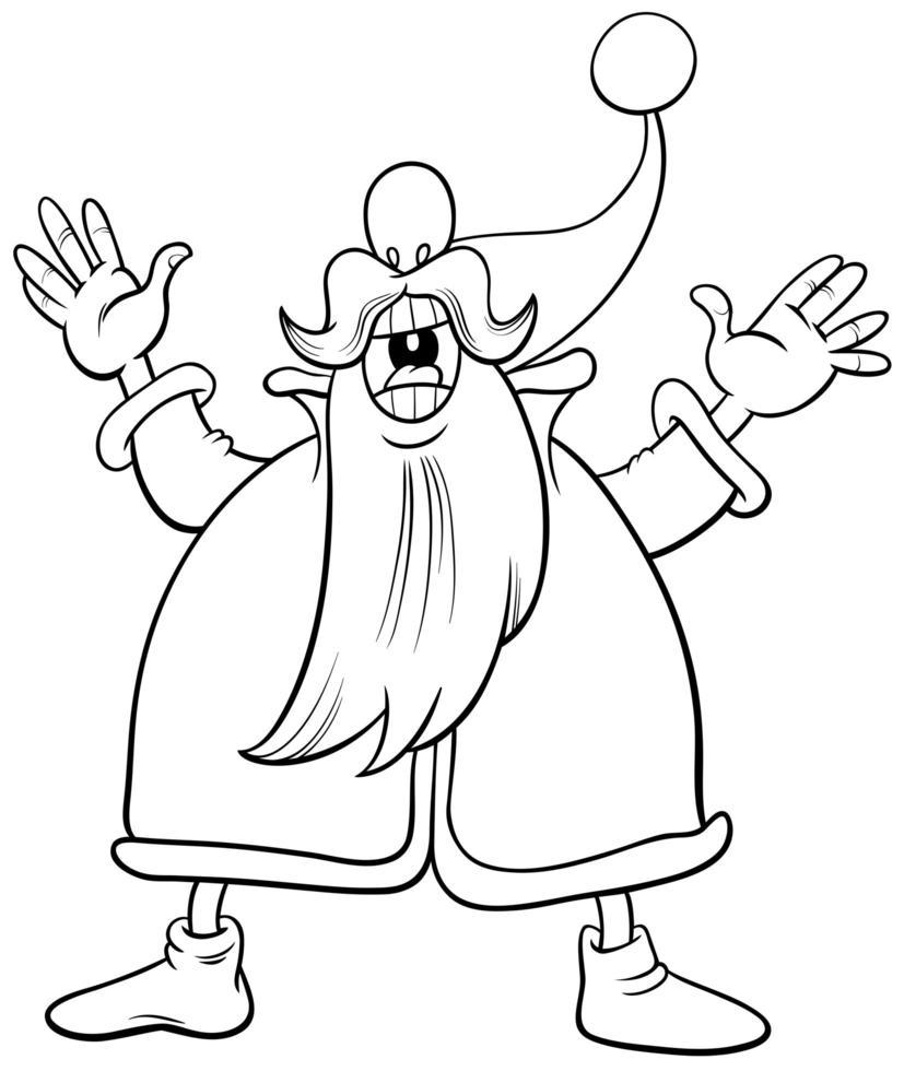 Santa Claus cantando villancicos página de libro para colorear vector