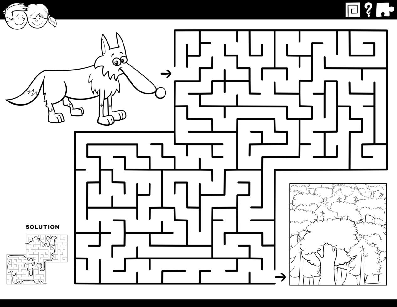 juego de laberinto con lobo y bosque. vector