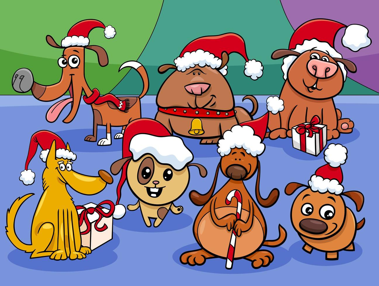 grupo de personajes de cachorros de dibujos animados en navidad vector