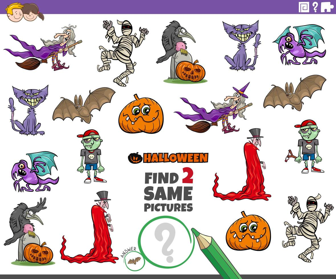 Find two same Halloween characters educational game vector