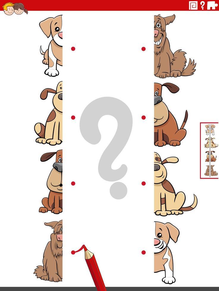 Emparejar mitades de imágenes con perros tarea educativa vector