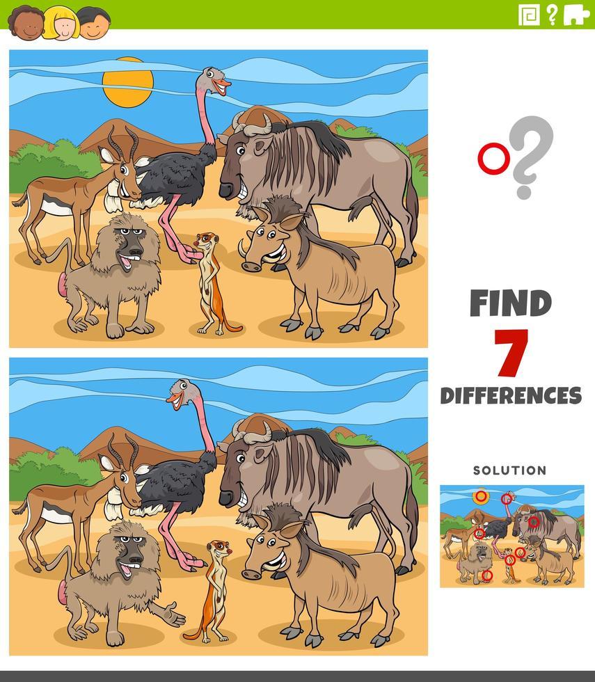 Diferencias tarea educativa para niños con animales. vector