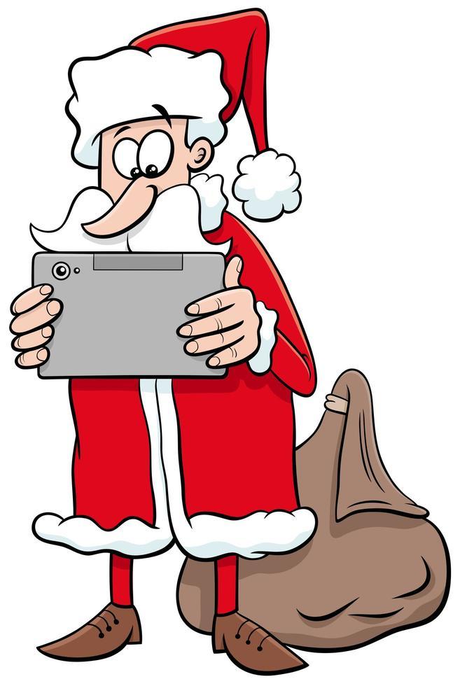 personaje de dibujos animados de navidad de santa claus con tablet pc vector