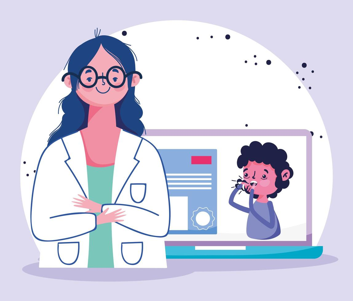 Online doctor visit concept with physician and patient vector